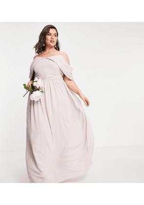 TFNC Plus bridesmaid drape shoulder asymmetric maxi dress in mink-Pink