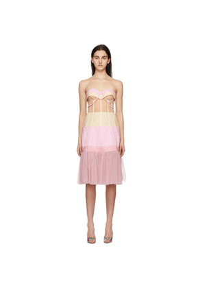 Moschino Pink and Beige Tulle Ottoman Deconstructed Couture Dress