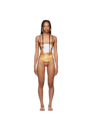 PRISCAVera Brown Printed Sunset One-Piece Swimsuit