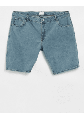 ASOS Actual slim light weight denim shorts in mid wash with contrast waist-Blue