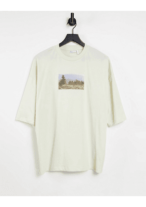 ASOS DESIGN oversized t-shirt in off white with photographic print-Grey