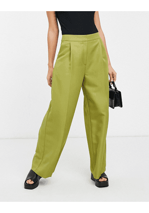 ASOS DESIGN slouchy dad wide leg trouser in olive-Green