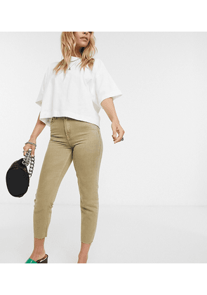 Only Petite high waisted raw hem jean in beige-Neutral