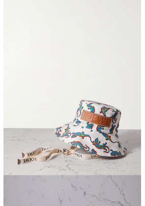 Loewe - + Paula's Ibiza Leather-trimmed Printed Cotton-twill Bucket Hat - Off-white