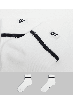 Nike Essential 2 pack quarter socks in white