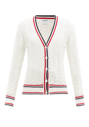 Thom Browne - Cable-knit Tricolour-striped Cotton Cardigan - Womens - White
