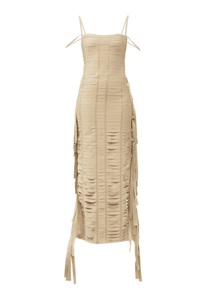 Givenchy - Fringed Banded Ribbon Gown - Womens - Beige