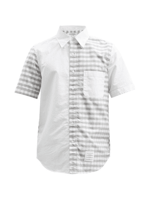 Thom Browne - Panelled Gingham-check Cotton-oxford Shirt - Mens - Grey