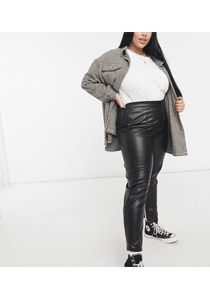In The Style Plus x Saffron Barker leather look high waist trouser in black