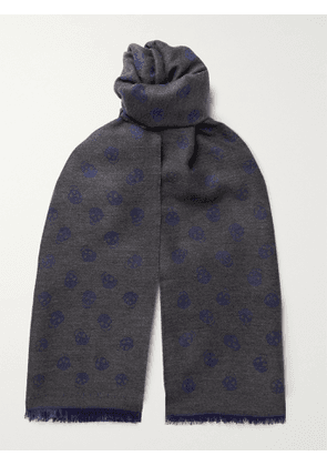 ALEXANDER MCQUEEN - Fringed Wool and Silk-Blend Jacquard Scarf - Men - Gray