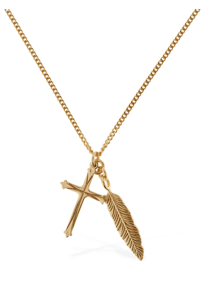 Cross & Feather Pendant Chain Necklace