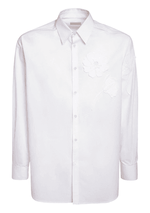Embroidered Flower Cotton Poplin Shirt
