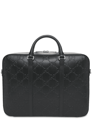 Gg Embossed Leather Briefcase