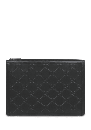 Gg Embossed Leather Pouch