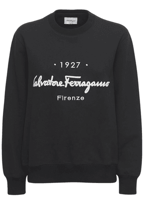 Logo Cotton Jersey Crewneck Sweatshirt