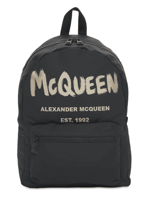 New Mcqueen Graffiti Nylon Backpack