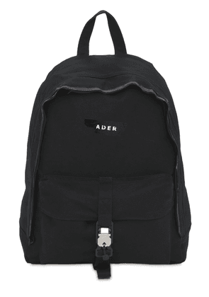 Logo Print Tape Cotton Canvas Backpack