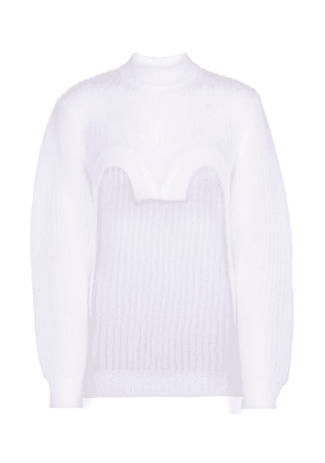 Cropped ribbed-knit top