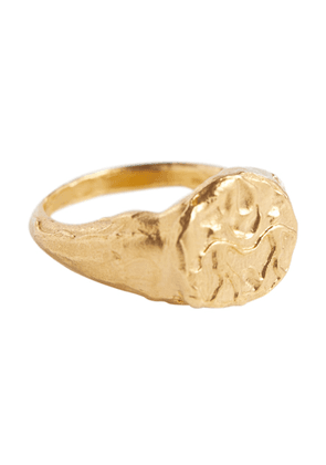 Gemini 24kt gold-plated signet ring