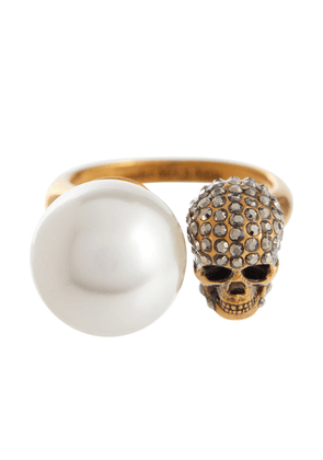 Faux pearl and crystal-embellished ring