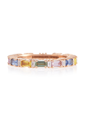 Rainbow Fireworks 18kt rose gold eternity ring with diamonds and sapphires