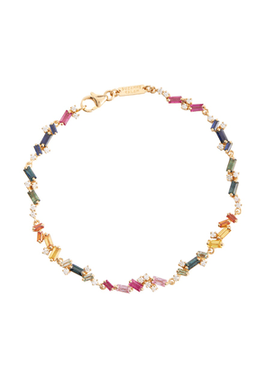 Fireworks 18kt yellow gold bracelet with diamonds and sapphires