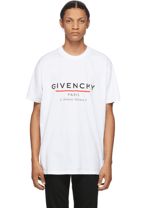 Givenchy White Oversized Label Printed T-Shirt