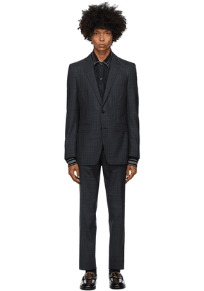 Burberry Blue Checkered English Suit