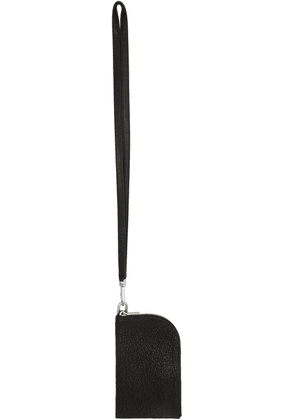 Rick Owens Black Grained Leather Neck Wallet