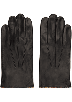 Paul Smith Black Leather Signature Stripe Gloves