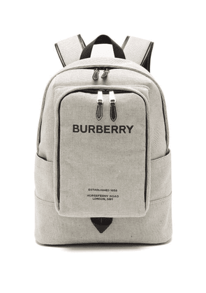 Burberry - Jack Horseferry-logo Cotton-canvas Backpack - Mens - Black