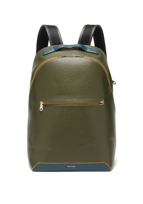 Paul Smith - Embossed-leather Backpack - Mens - Khaki