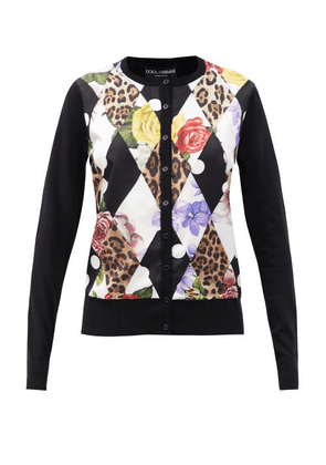 Dolce & Gabbana - Montage-print Cashmere-blend Cardigan - Womens - Black Multi