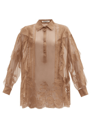 Valentino - Pintucked Lace-trimmed Silk-chiffon Blouse - Womens - Brown