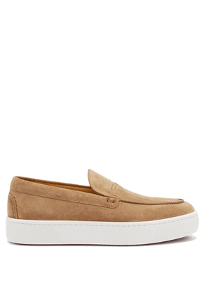 Christian Louboutin - Paqueboat Suede Deck Shoes - Mens - Brown