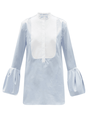 Another Tomorrow - Bell-sleeve Cotton-poplin Blouse - Womens - Blue White