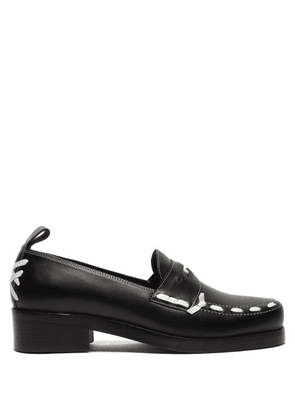 Stefan Cooke - Stitched Leather Penny Loafers - Mens - Black White