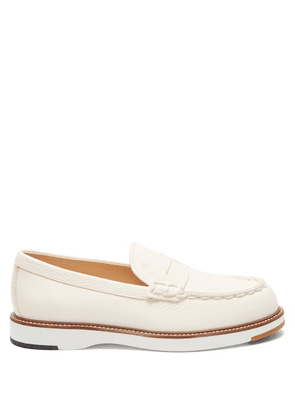 Tod's - Topstitched Leather Penny Loafers - Womens - White