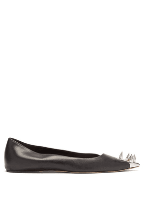 Alexander Mcqueen - Spike-embellished Leather Flats - Womens - Black Silver