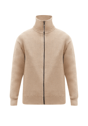 Acne Studios - High-neck Cotton-blend Ribbed-knit Cardigan - Mens - Light Beige