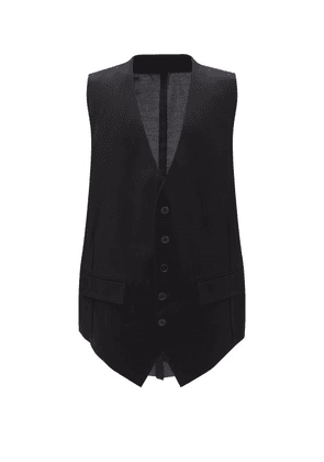 Raf Simons - Oversized Single-breasted Cotton Waistcoat - Mens - Black