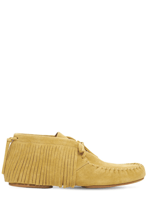 Fringed High Top Suede Loafers