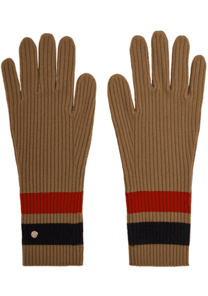 Burberry Tan Merino Monogram Gloves