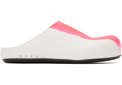 Marni White & Pink Half-Painted Sabot Loafers