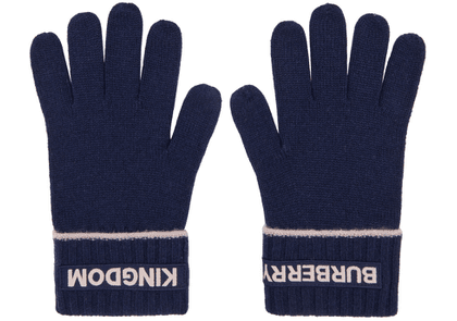 Burberry Navy Cashmere Logo & 'Kingdom' Gloves