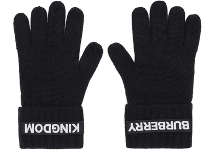 Burberry Black Cashmere Logo & 'Kingdom' Gloves