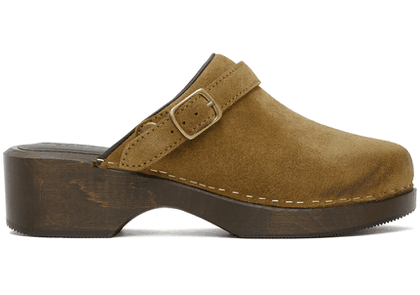 Re/Done Tan Suede 70s Classic Clogs