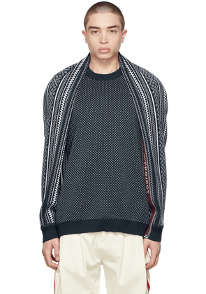 Y/Project Navy & White Classic Wing Sweater