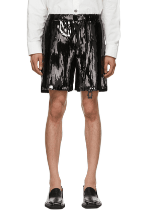 We11done Black Sequin Shorts
