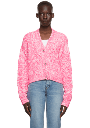 We11done Pink & White Cable Knit Cardigan
